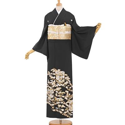 総刺繍黒留袖レンタル0910-M全景。、黒留袖、留袖、色留袖、結婚式、着物レンタル、40代、50代、60代、おすすめ