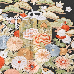 総刺繍黒留袖レンタル0767-M裾,総刺繍,留袖レンタル,安い,相場,結婚式,貸衣装,着付け,美容室