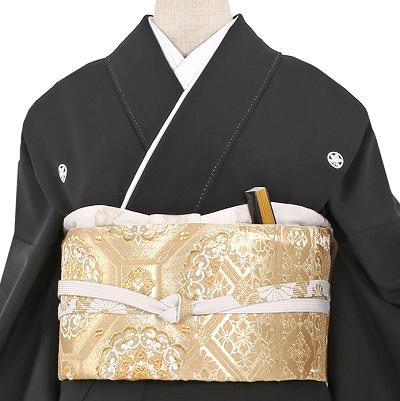 総刺繍黒留袖レンタル0910-M帯。鹿児島、留袖レンタル結婚式、黒留袖、色留袖、着物レンタル、相場、安い
