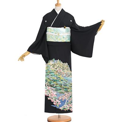 刺繍黒留袖レンタル1186S全景。香川、高松、留袖レンタル結婚式、黒留袖、色留袖、着物レンタル、相場、安い